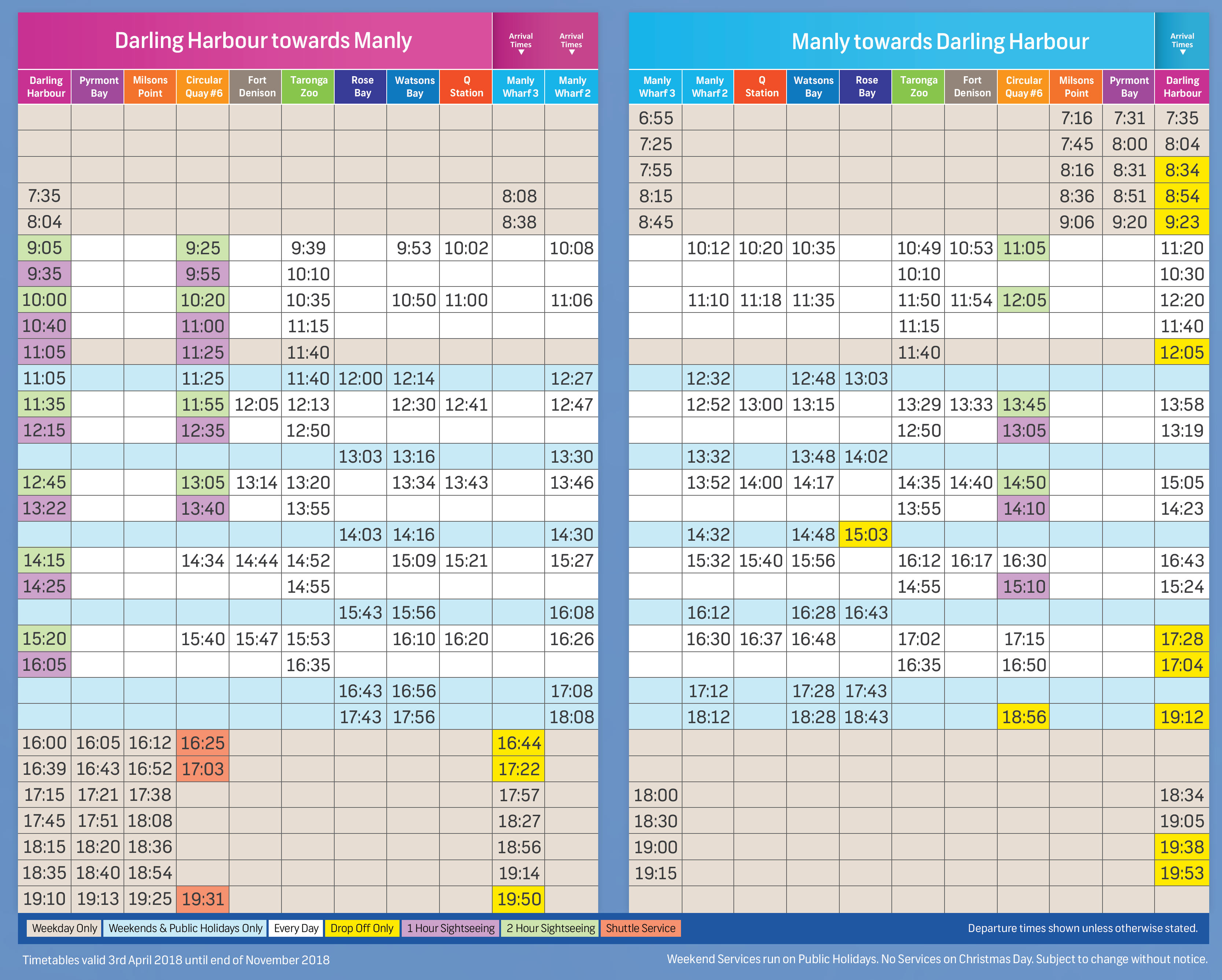 rose bay ferry timetable pdf