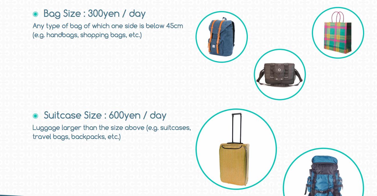行李寄放 隨身行李¥300 一天、大行李箱¥600一天