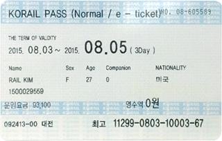 韓 國 鐵 路 通 票 。圖 片 來 源 : 韓 國 觀 光 旅 遊 局 。