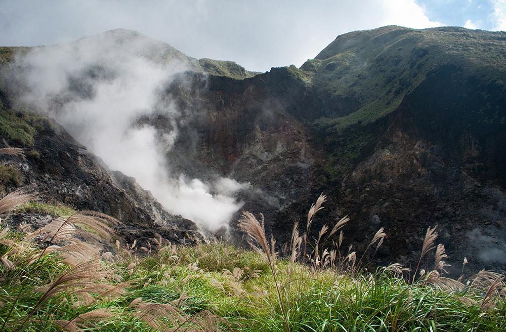 白煙襯托下的小油坑芒花,別有一番風味。(Flickr授權作者-Andy Enero)