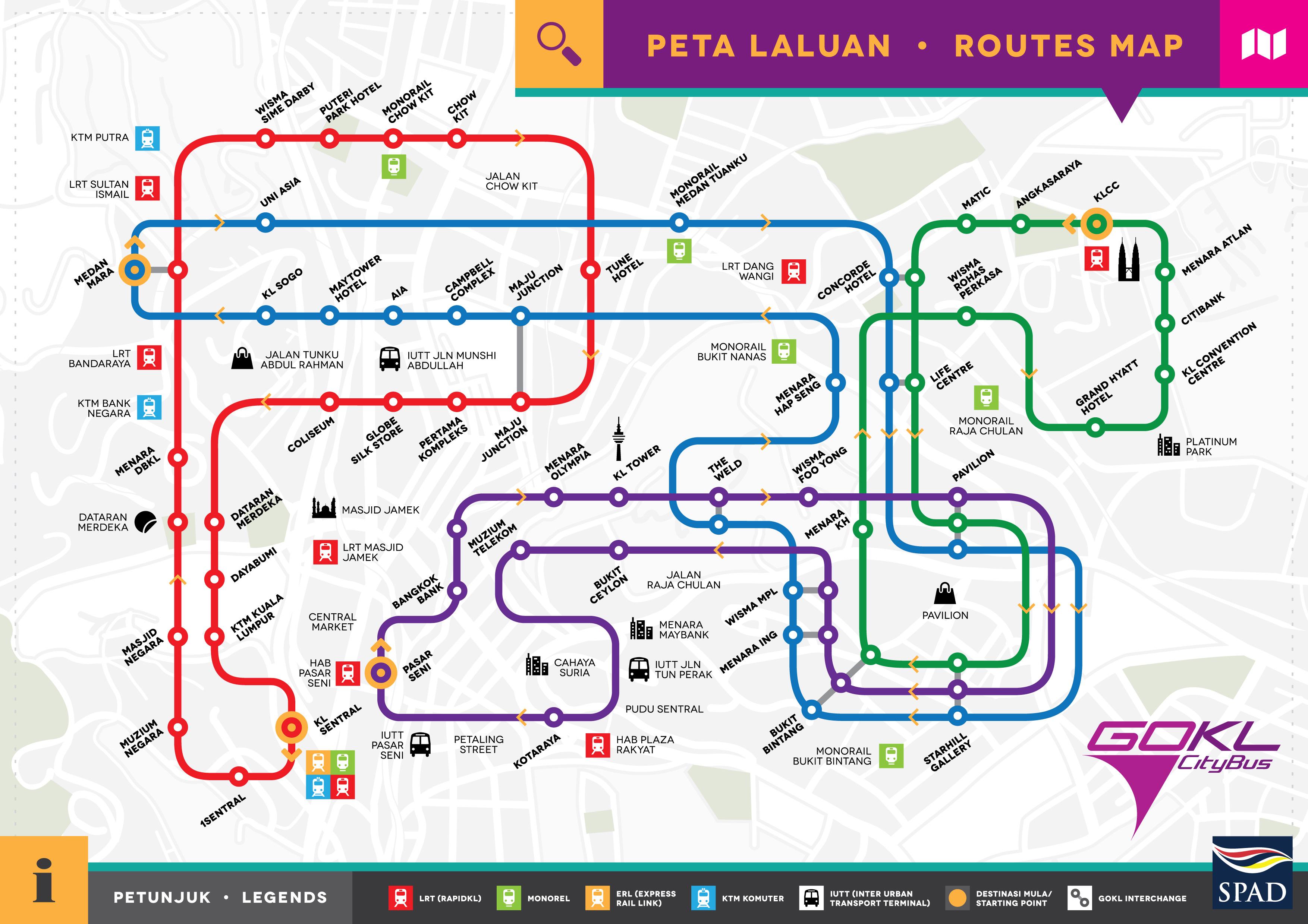 Go KL Bus 免費公車路線圖