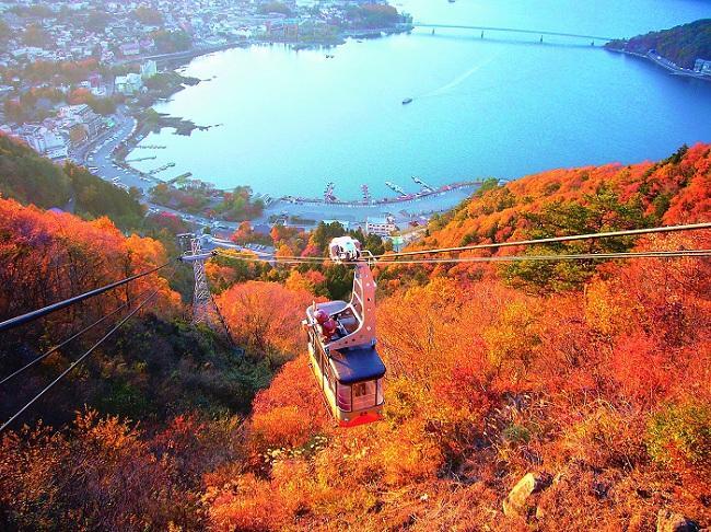 河 口 湖 賞 楓 還 可 以 見 到 清 晰 的 富 士 山