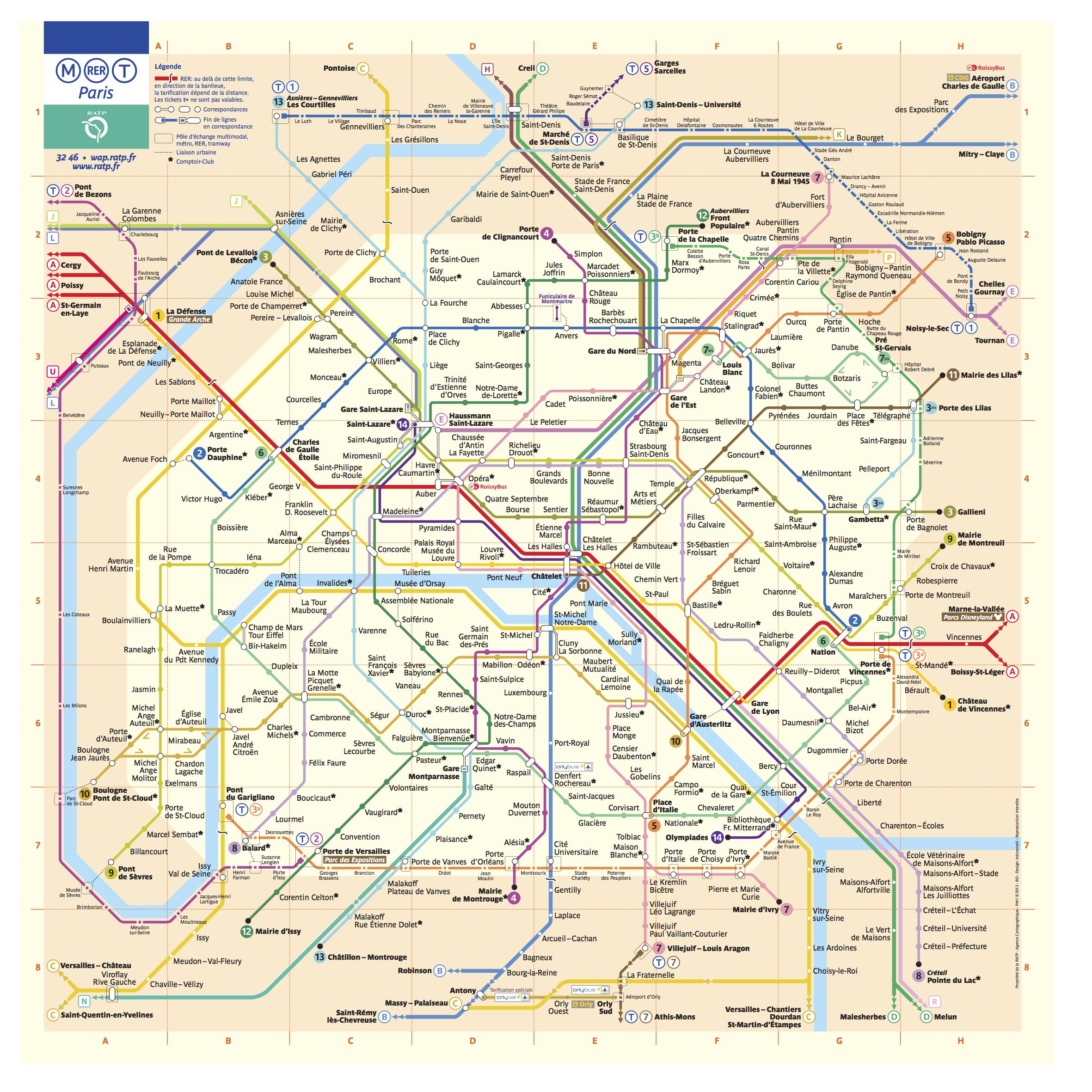 法國巴黎Metro+RER+Train地鐵圖 photo by parisbytrain