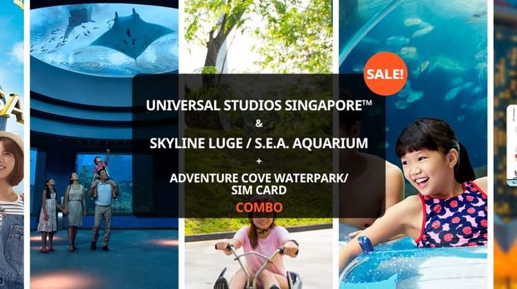 [Sale] Universal Studios Singapore™ and Skyline Luge/S.E.A. Aquarium + Adventure Cove Waterpark/SIM Card Combo Packages