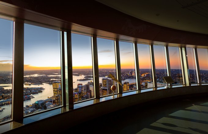 Sunset views from the Sydney Tower Eye