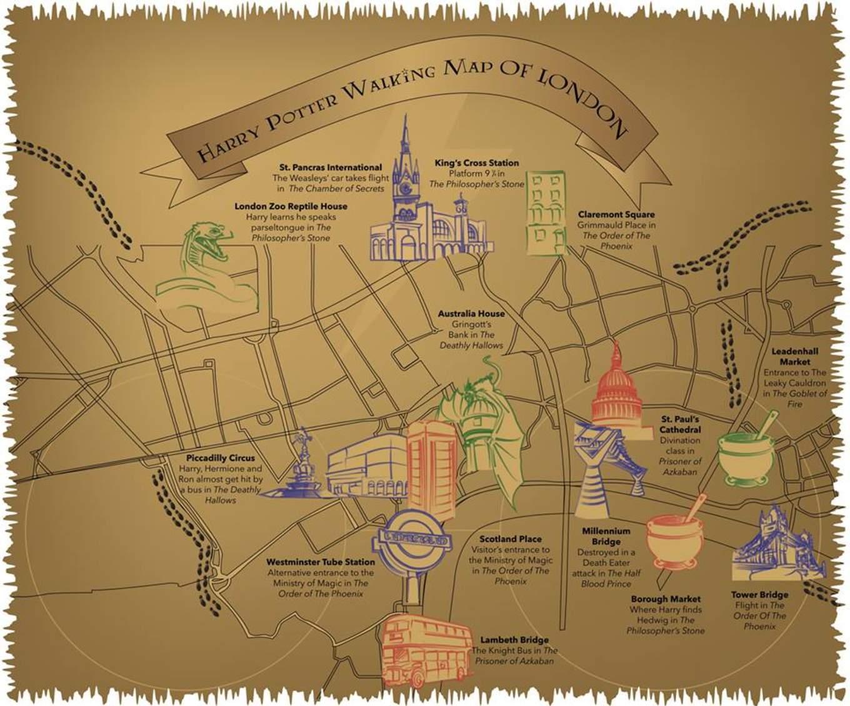 harry potter walking tour map