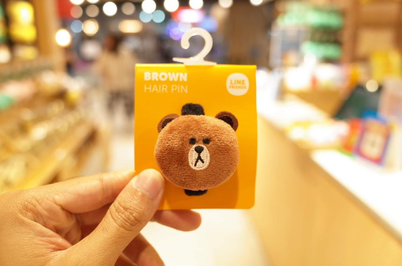 Brown hair pin from the LINE Store in Bangkok