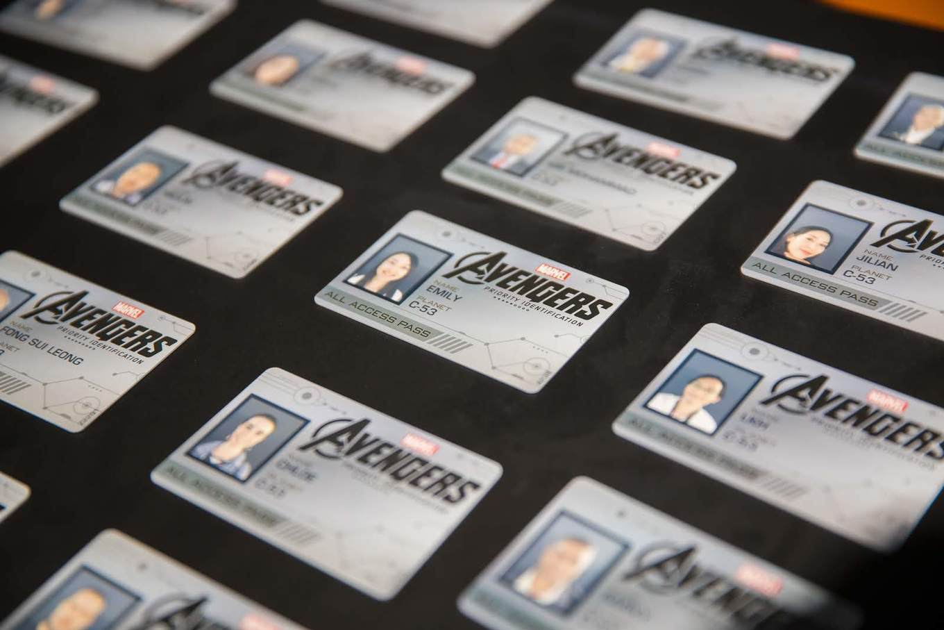 marvel exhibition avengers ID card