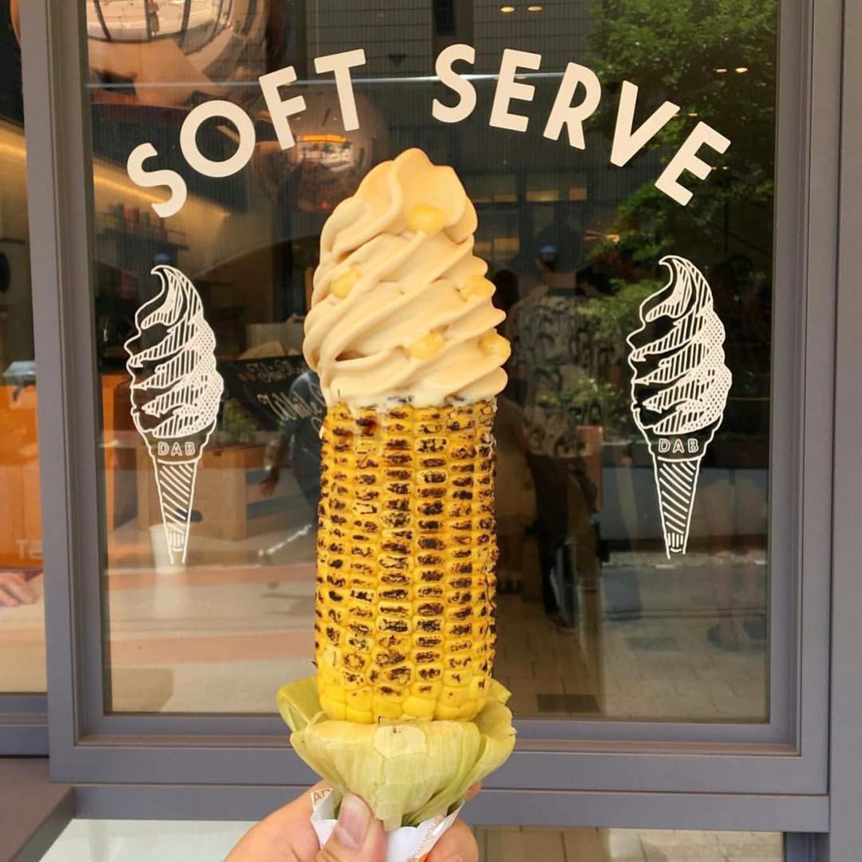 Ice cream on corn creme de la corn