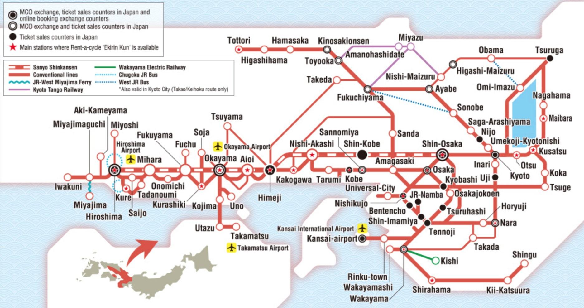 แผนที่ Kansai-hiroshima-area