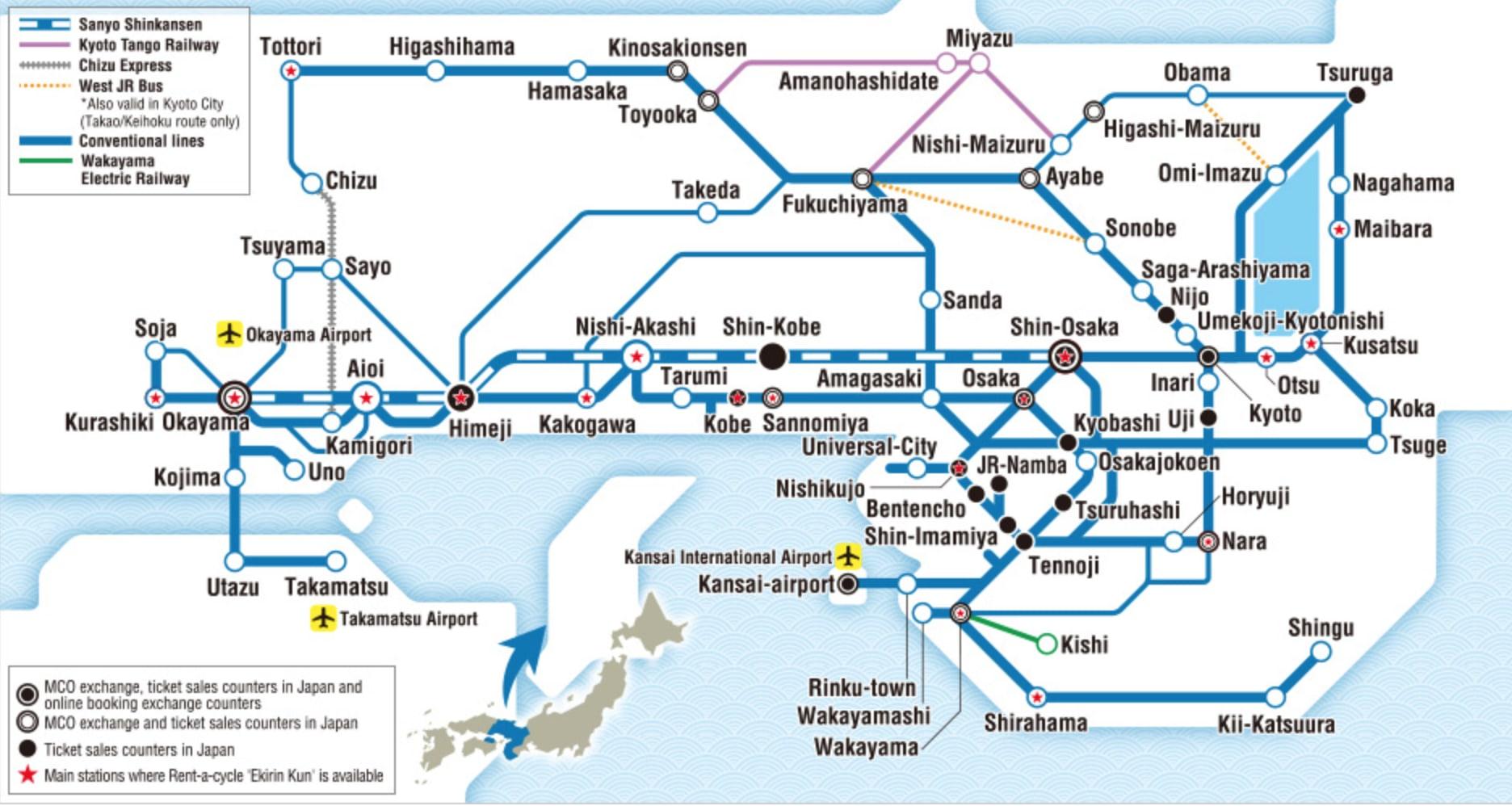 แผนที่พื้นที่ให้บริการของ jr kansai wide area