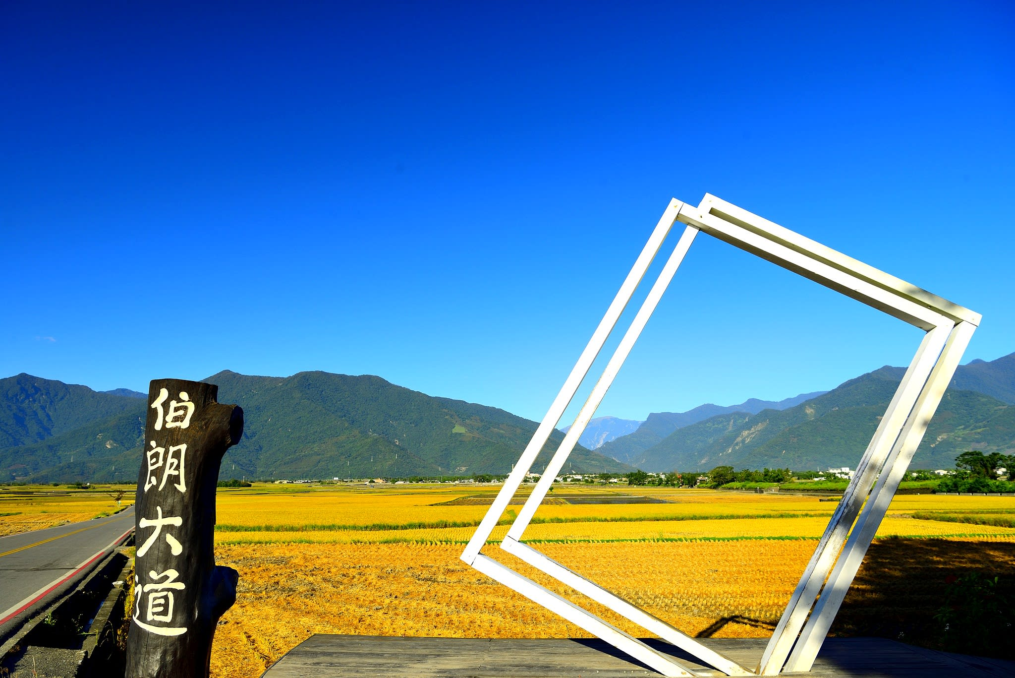 一定要記得到伯朗大道旁的白色相框拍照留念,將金黃美景通通打包帶回家。(Flickr授權作者-發現旅行中的小確幸)