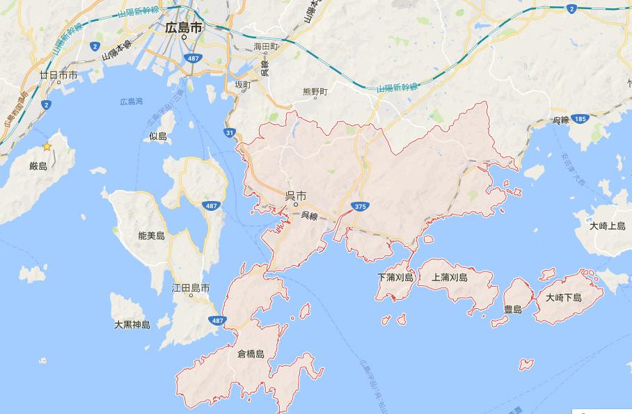 吳市位在廣島市東南邊,圍繞著瀨戶內海。