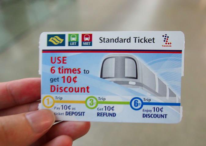 捷 運 單 程 票 。
