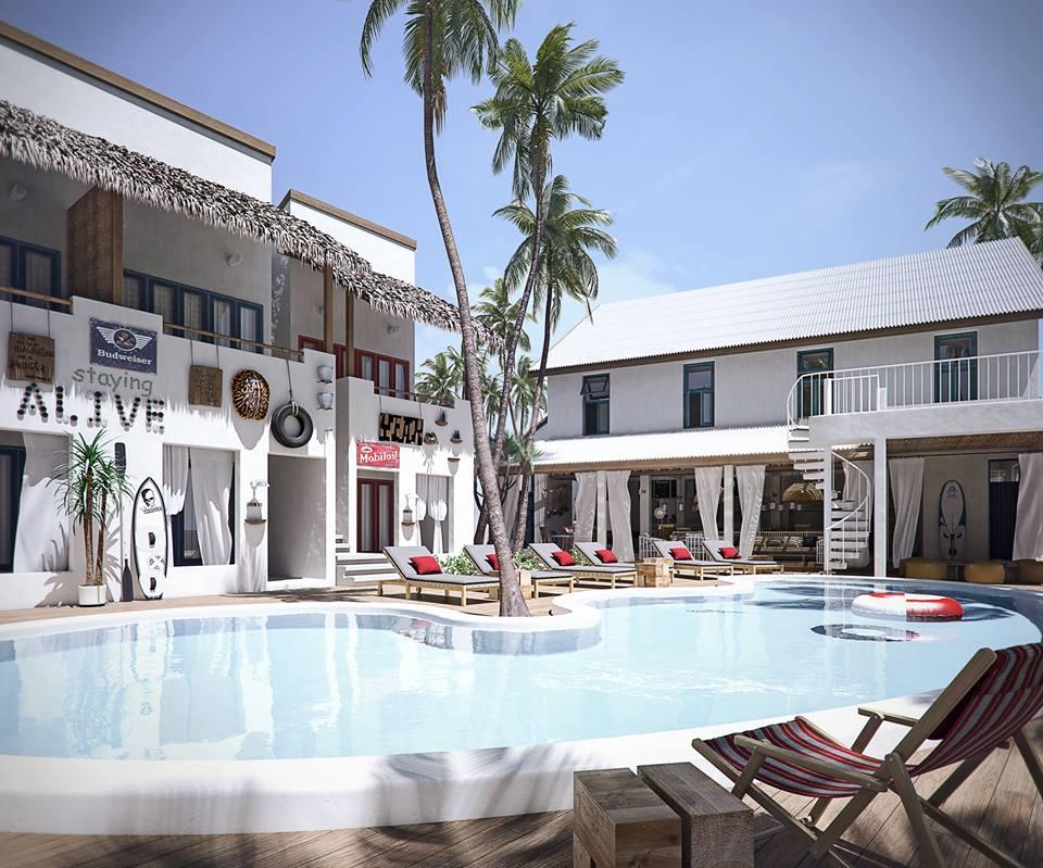 hostel內泳池|圖片來源:https://goo.gl/Nx7jEe