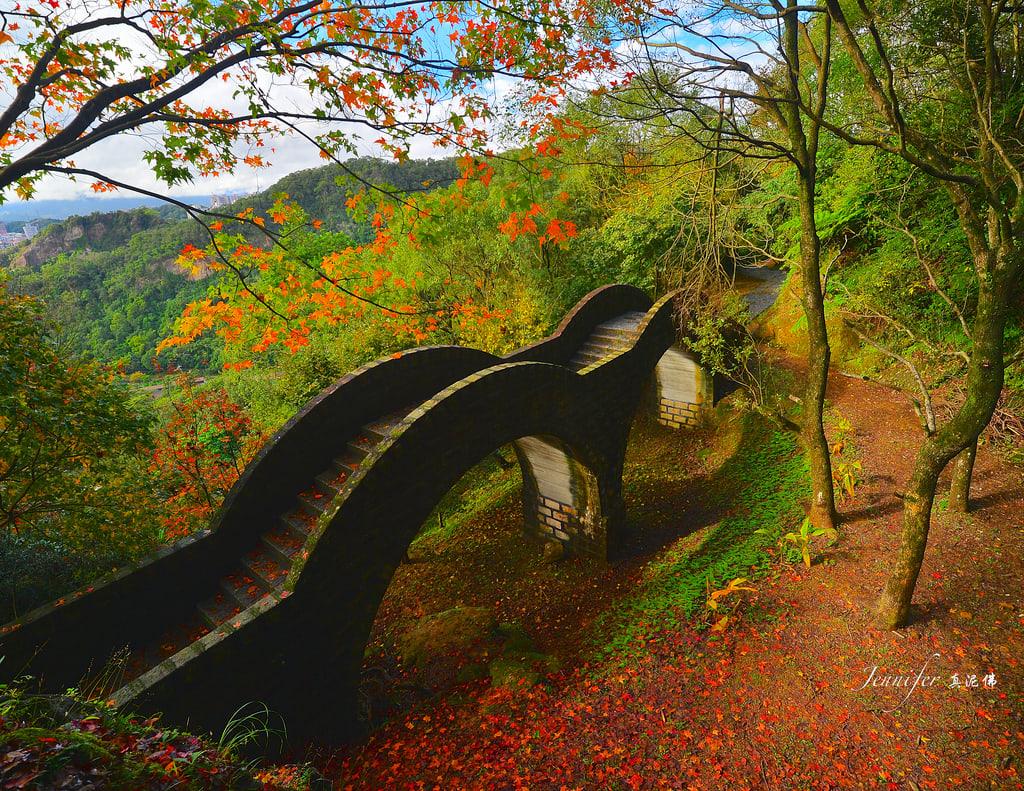 微微懶賞楓攻略 小 巧 拱 橋 搭 配 滿 地 楓 葉 ( 圖 片 來 源 : goo.gl/qKqZnM )