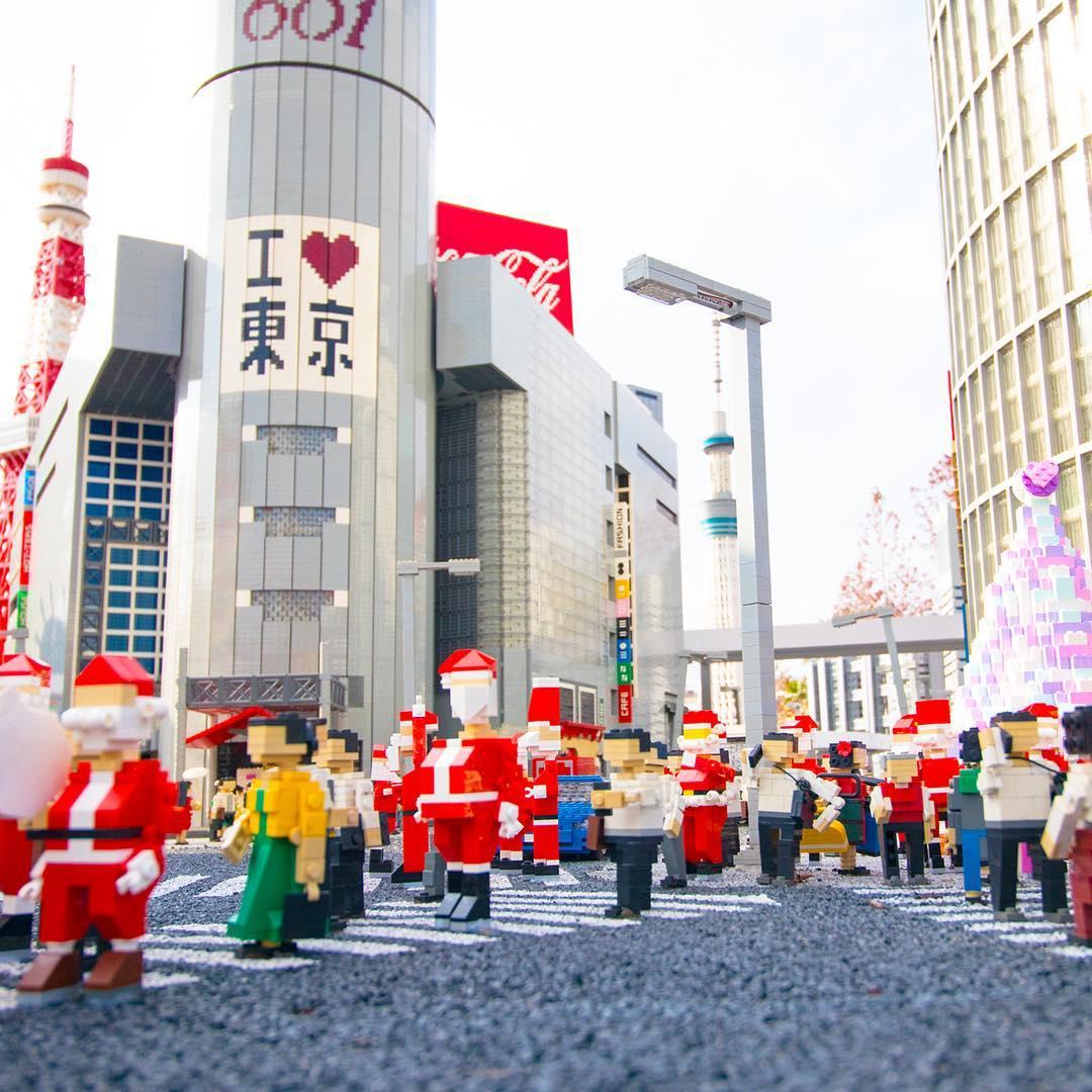 樂高迷你城,聖誕節時的澀谷街頭,取自:名古屋樂高樂園官方Instagram
