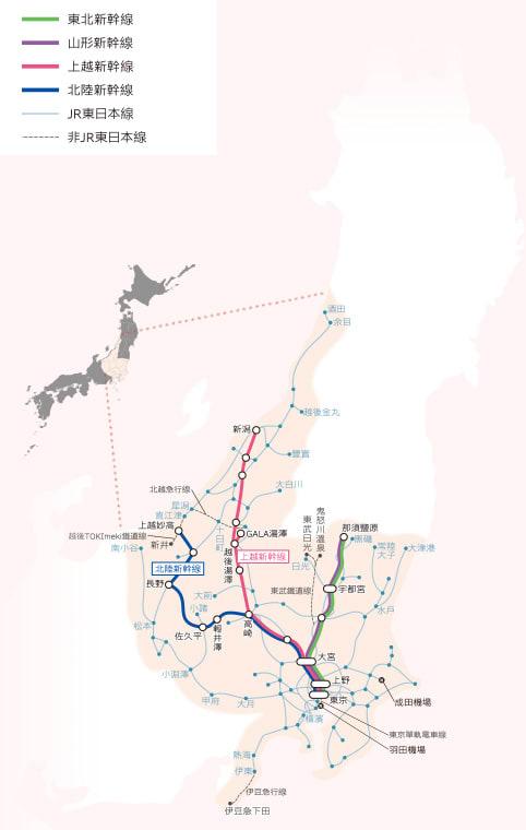 長野、新瀉地區鐵路周遊券可使用區間。
