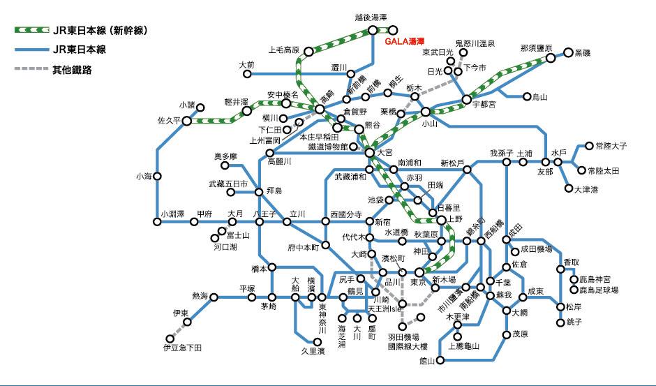 東京廣域周遊券可使用區間。
