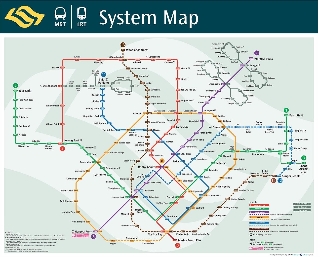 新 加 坡 捷 運 圖 。