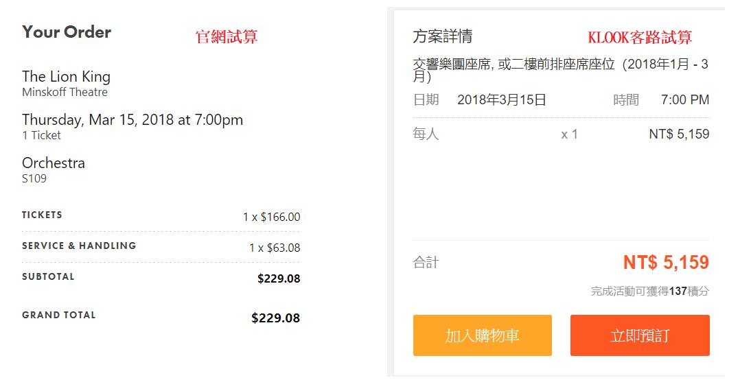 百老匯官網與KLOOK客路票價比較|圖片來源:Vanessa