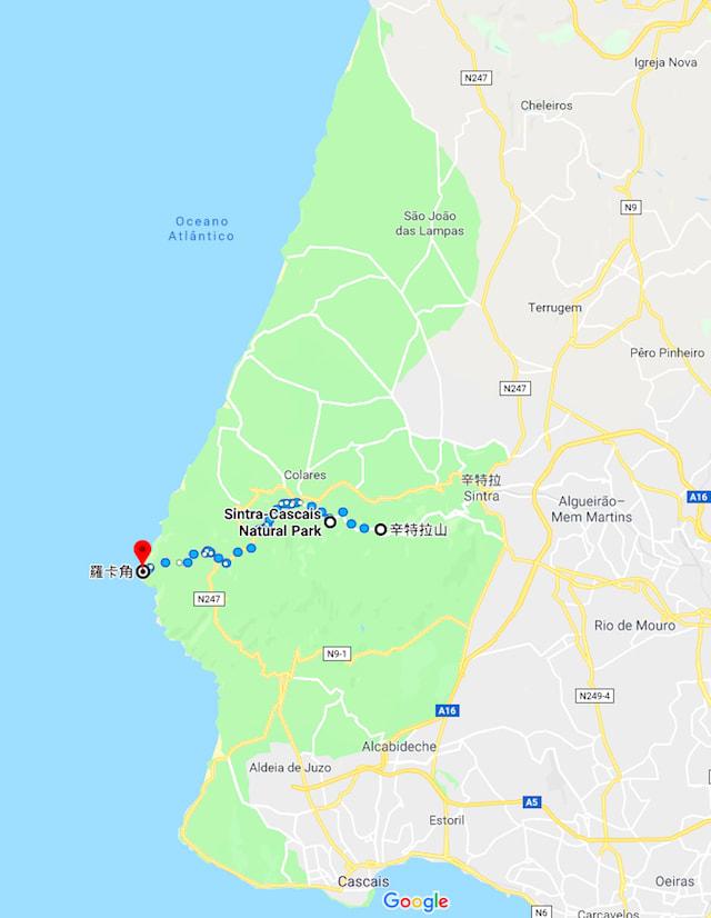 辛特拉、羅卡角都位於卡斯凱什國家公園(綠色範圍)內。圖片來源:Google Map