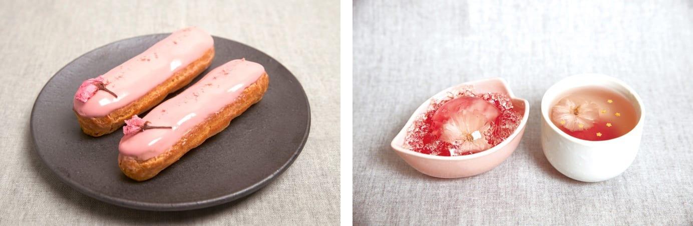 左:pâtisserie Sadaharu AOKI paris的「Eclair Sakura」/右:櫻花口味的飲品(來源:FASHION PRESS)
