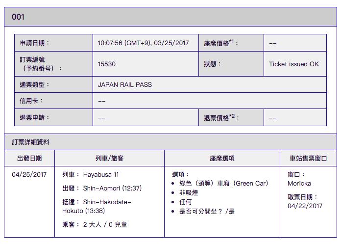 JR PASS北九州,成功預約畫面。