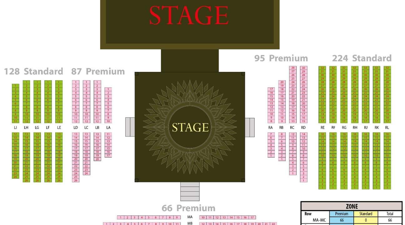 泰拳秀的座位圖,Standard是普通席、Premium 是貴賓席。