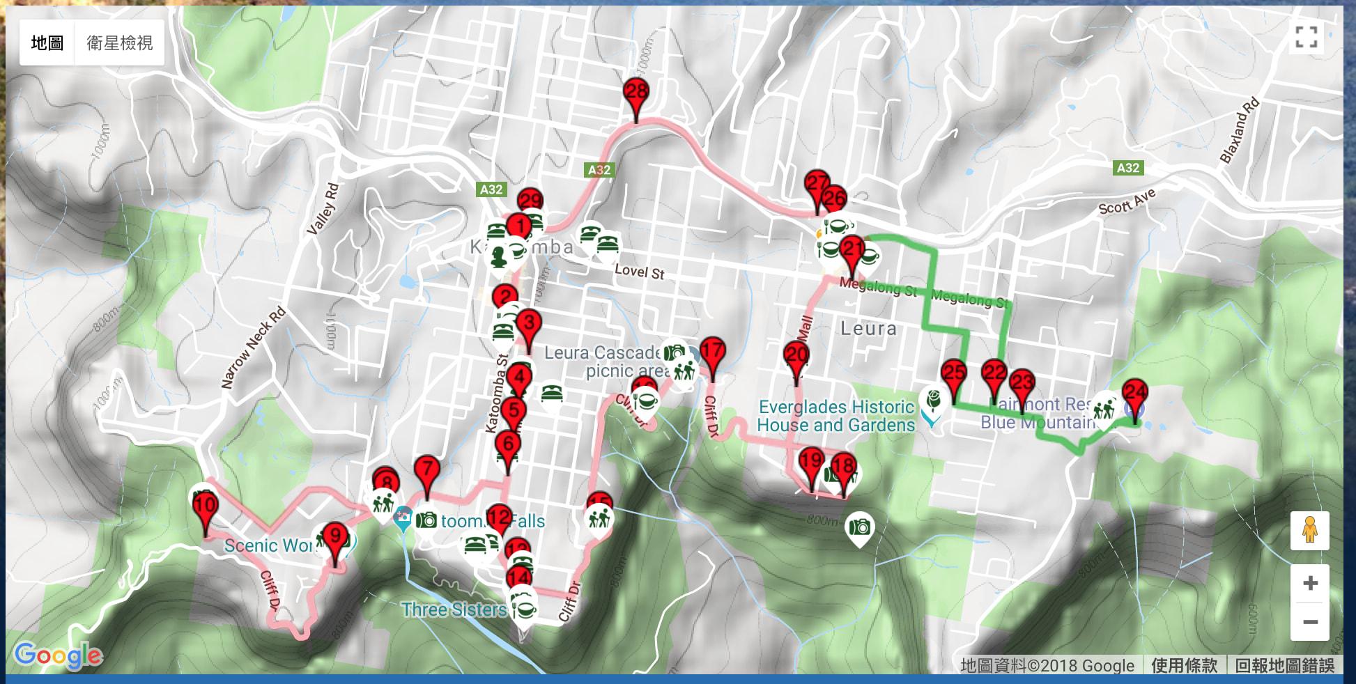 Blue Mountain Explore Bus 路線圖 http://www.explorerbus.com.au/map.html