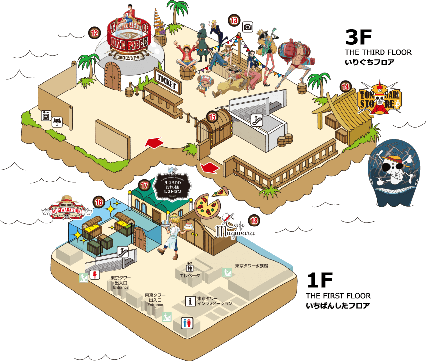 1F與3F地圖(圖片取自TOKYO ONE PIECE TOWER官方FB粉絲團)