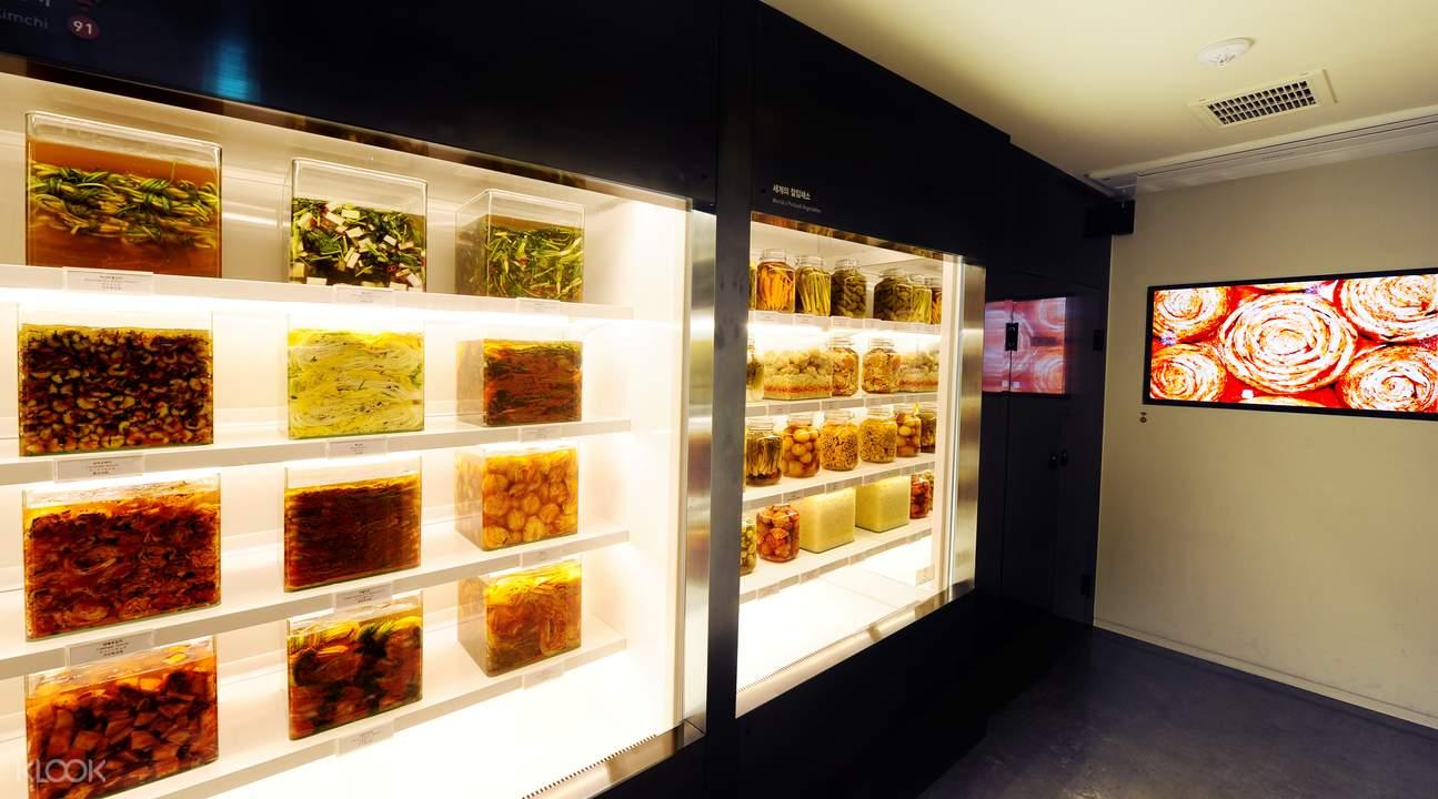 泡菜間博物館有許多不同類型的泡菜。