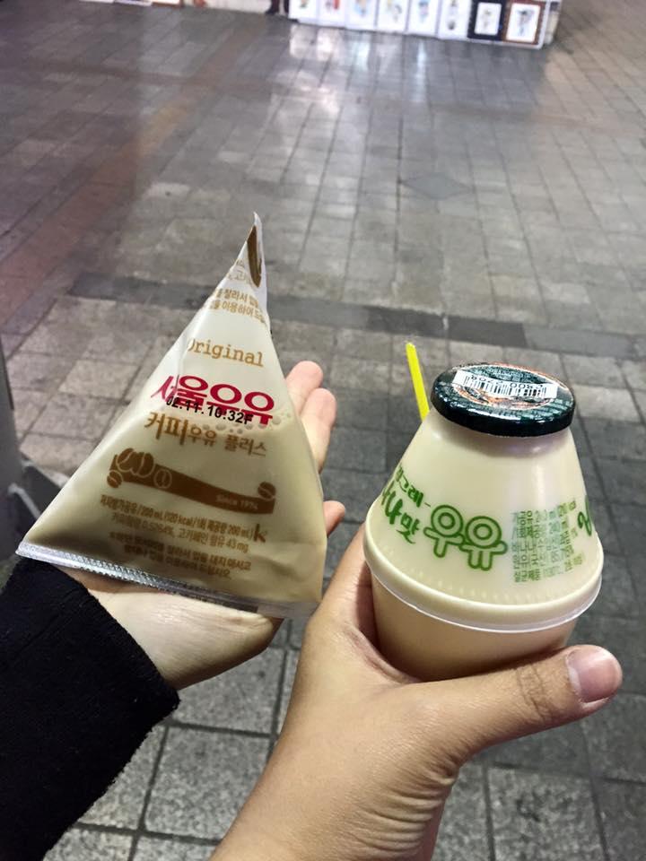 韓國超商咖啡牛奶、香蕉牛奶,攝影:Ch。