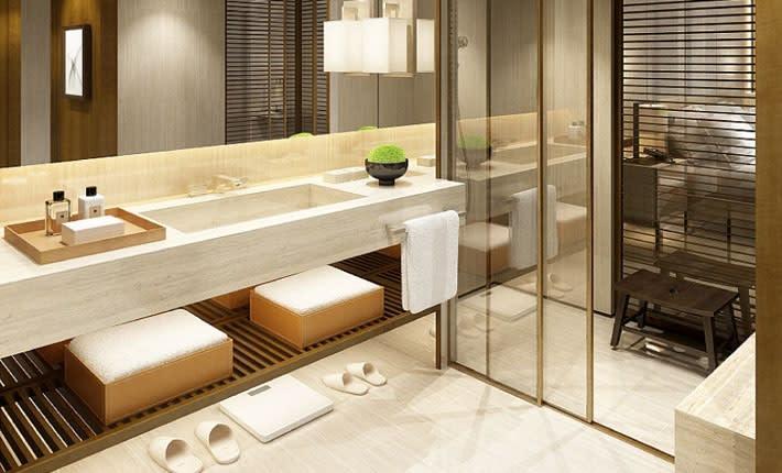 首爾樂天酒店客房衛浴空間。(圖片取自首爾樂天酒店官網)