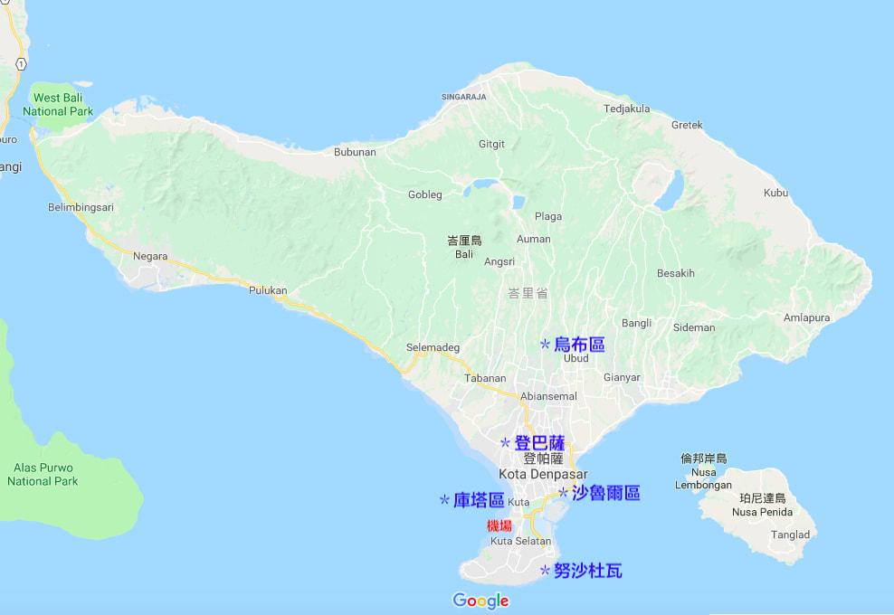 峇里島五大區。來源:google。