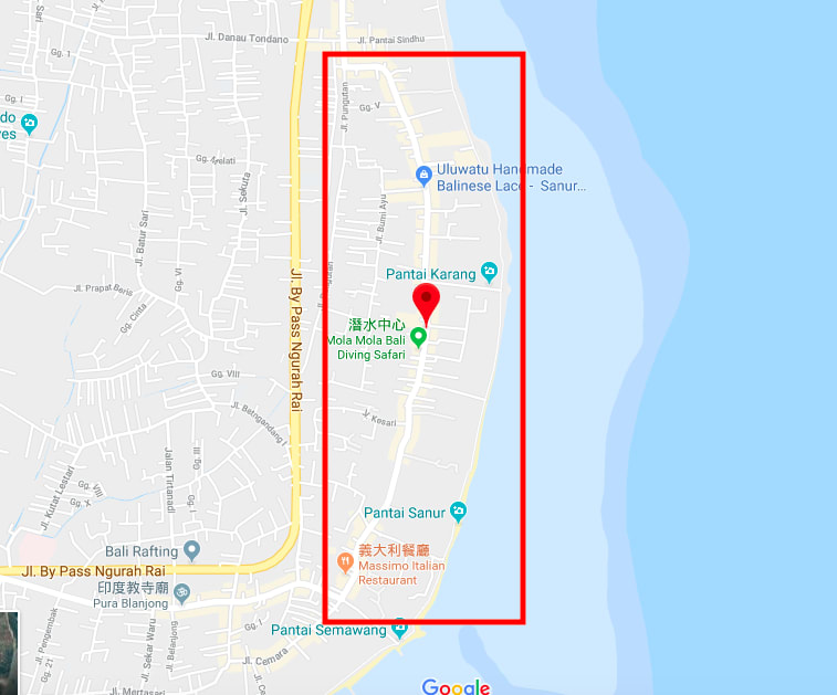 位於沙魯爾區右側。來源:google地圖。