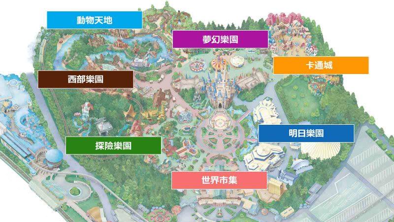 東京迪士尼樂園地圖,來源:東京迪士尼樂園https://goo.gl/RyXBTm