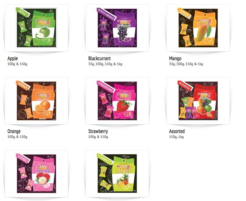 芒果軟糖,馬來西亞軟糖,圖片取自:Lot100軟糖官網