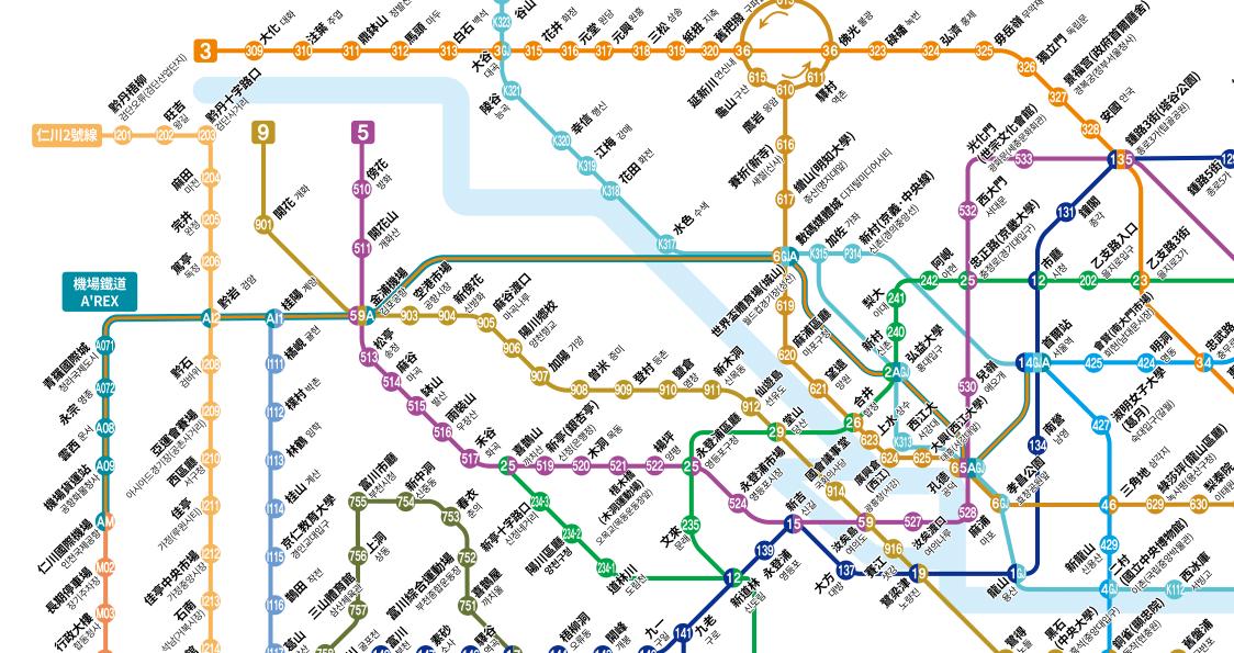 此次規劃一日遊地鐵圖,圖片來自:Visit Seoul Net