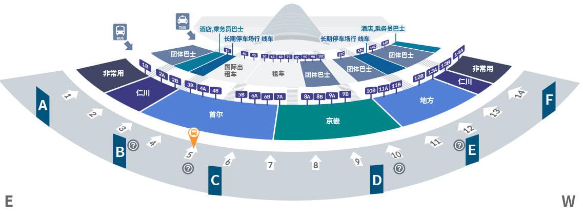 仁川機場第一航廈乘車地點 1F 5號,圖片取自:機場官網