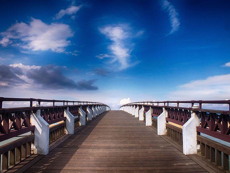 福隆海水浴場,要進入沙灘前會有一段木棧道,管理的很有條理。圖片取自:維基百科
