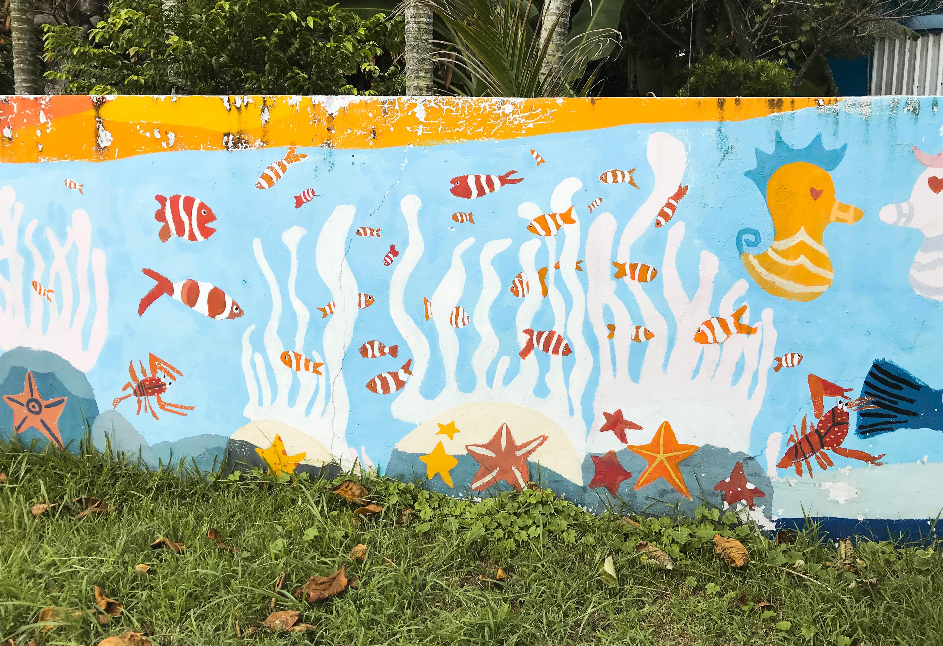 校園圍牆由孩子們彩繪心目中的蘭嶼