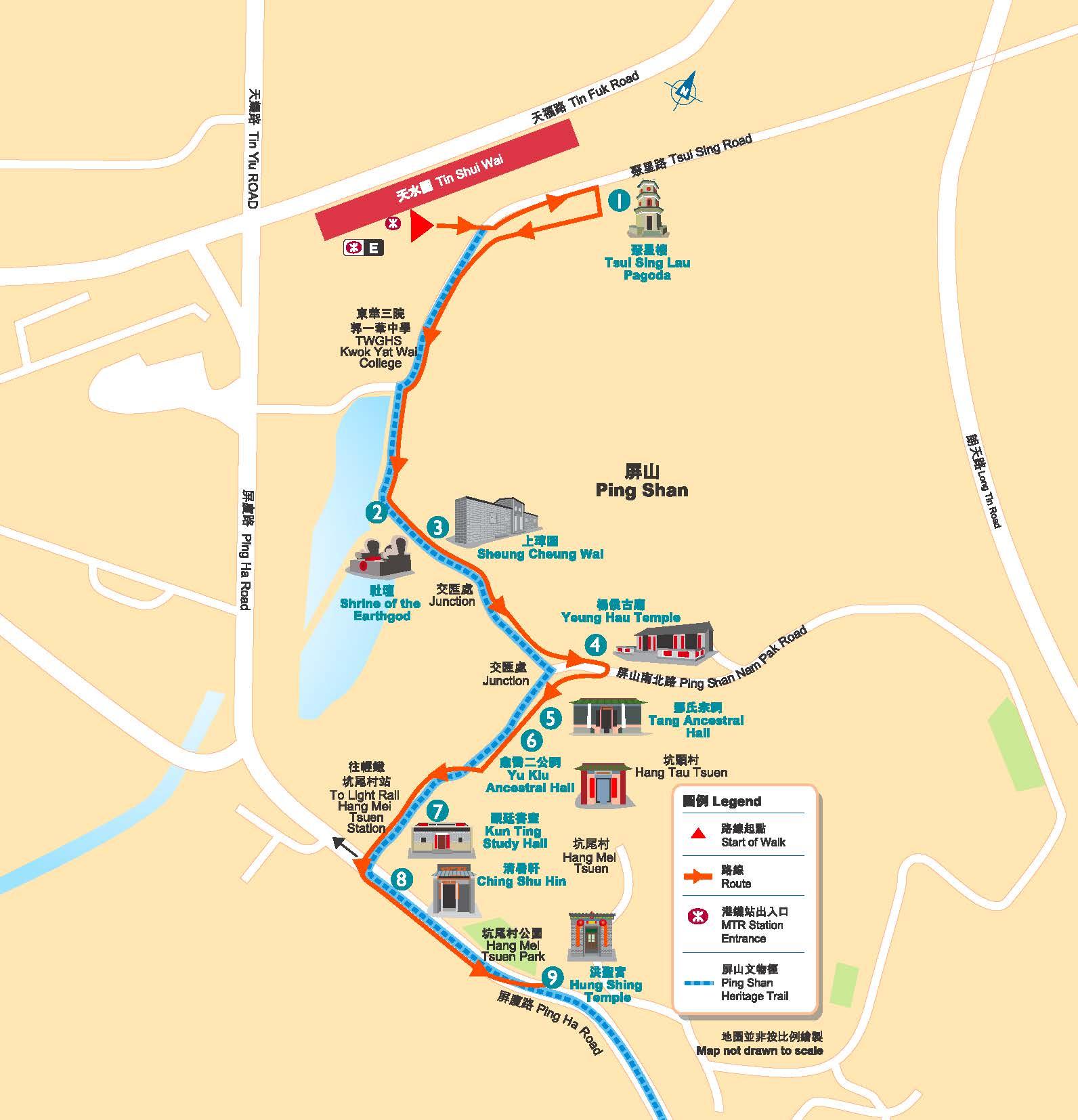 屏山文物徑步道圖 來源:香港旅遊發展局