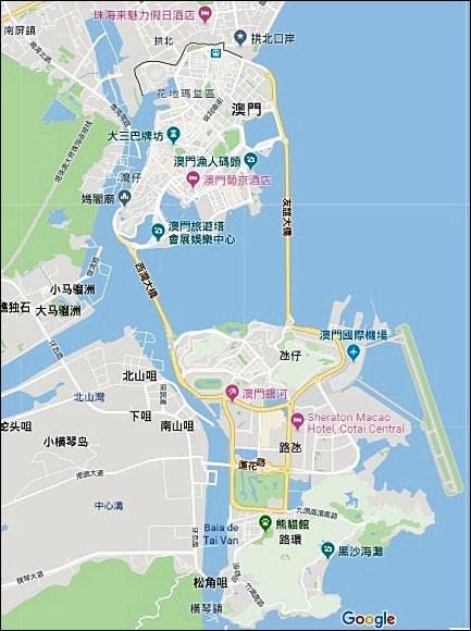 ▲ 澳門地圖(資料來源:Google地圖)