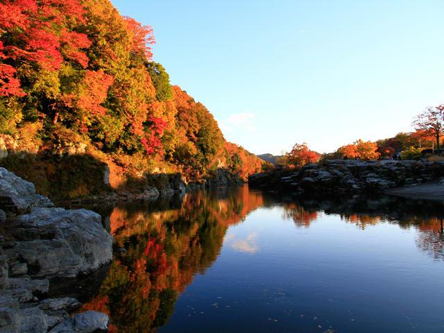 長瀞的楓情映照在靜謐的湖水。(圖片取自www.rurubu.com)