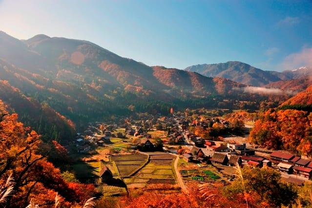 白川郷合掌村除了冬季的風光,連秋季楓紅也別具特色。(圖片取自www.rurubu.com)