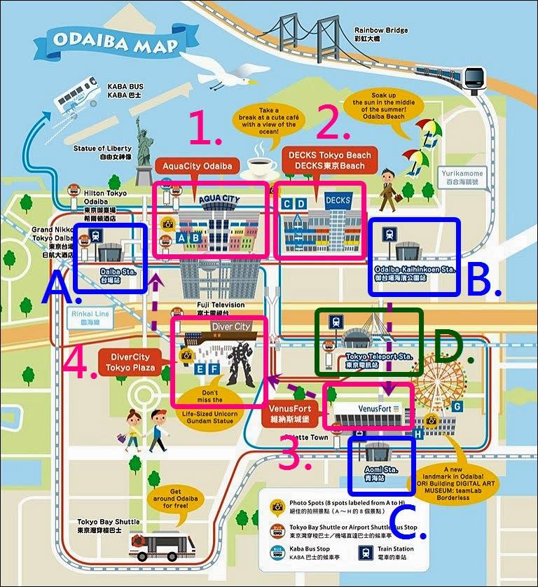 台場逛街地圖(圖片來源:VISA-東京台場購物週網站)