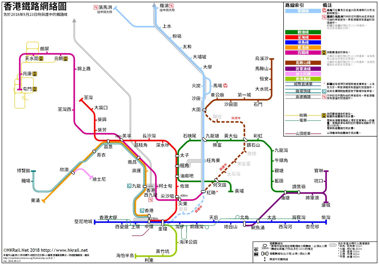 港鐵路線圖,圖片取自www.hkrail.net。