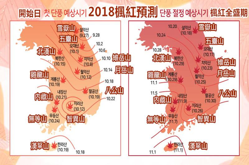 2018紅葉預測(照片來源:Kweather官網https://goo.gl/7qxFts)