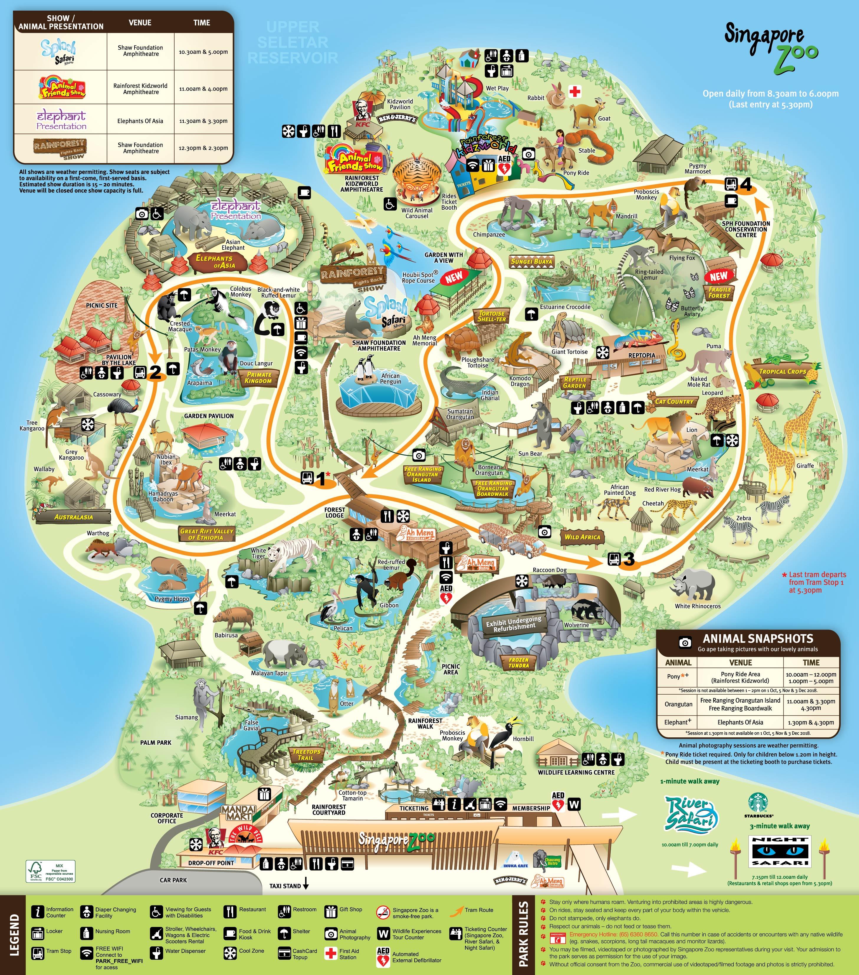 地圖DM是遊園必備品。(圖片取自新加坡動物園官網)